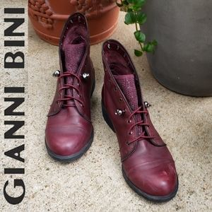 Gianni Bini Distressed Grunge Leather Skull Boots